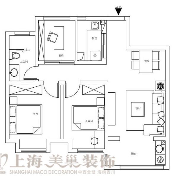 贰号城邦90平两室两厅北欧风格装修户型图