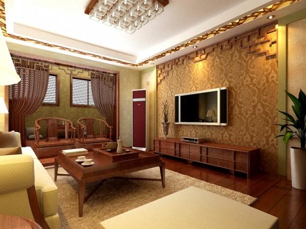 客厅整体设计表现出了庄重与优雅双重的气质。为了生活的舒服,在客厅中中也用到了沙发,但整体仍然体现着中式的古朴,设计师这样表现使整体空间,传统中透着现代,现代中揉着古典。