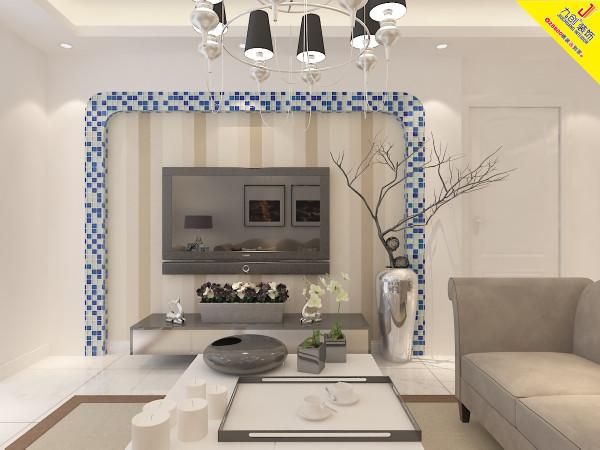 客厅是主任品味的象征,体现了主人品格,地位,也是交友娱乐的场合,电视背景墙采用瓷砖边框造型,既简单又大方,再加上色彩为白棕的壁纸,配上顶部照下来的灯光,整个电视背景墙把客厅提升起来。