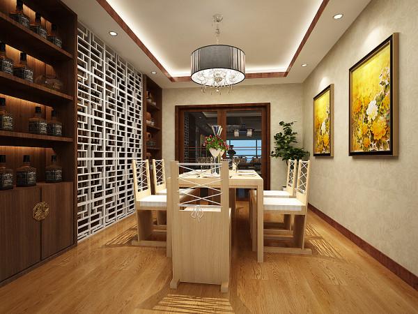 设计理念:该户型的餐厅采光比较好,设计简约而不失亮点,浅黄色的墙面与线条简洁的餐桌表现出浓郁的现代气息,而色彩与客厅遥相呼应。