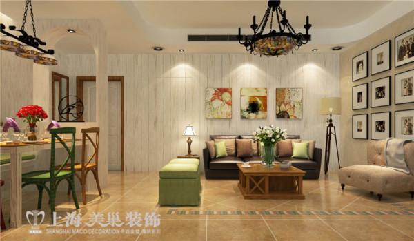 郑州医学院家属院120平三室两厅美式乡村风格装修效果图--沙发背景
