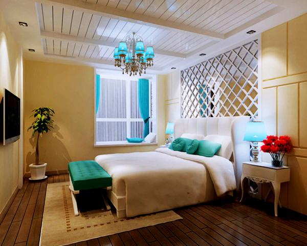 卧室装修起居室一般较客厅空间低矮平和,选材上也多取舒适、柔性、温馨的材质组合。