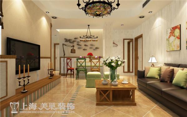 医学院家属院120平三室两厅美式乡村风格装修效果图——客厅