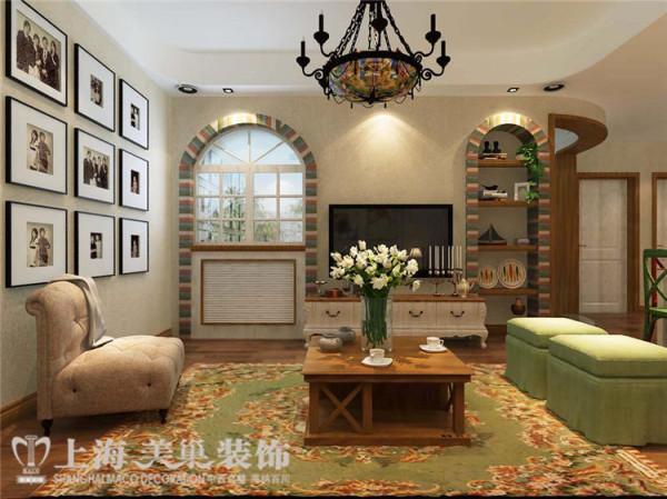 医学院家属院120平三室两厅美式乡村风格装修效果图——电视背景墙