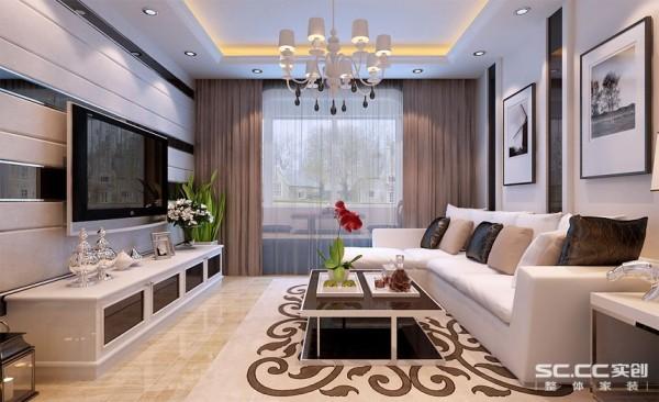 客厅设计: 整个客厅空间以简约的线条、简洁明快的角线贯穿始终,加以客厅软包和黑镜背景装饰,来修饰这一空间,合理的界定了功能空间,根据不同的区域进行了内容与诸元素的有机调配,