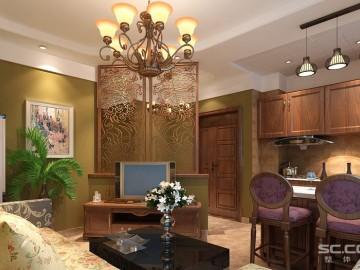 60平米一居室舒适美式乡村风格