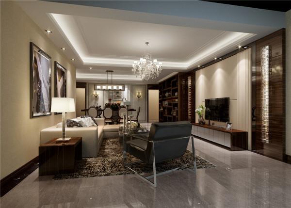 业之峰装饰设计师在设计本港式风格作品客厅方案时,整体造型都比较少,主要通过黑、白灰三种色系整体搭配和运用,再加上一些不绣钢的家具运用,让整个空间更现代时尚。