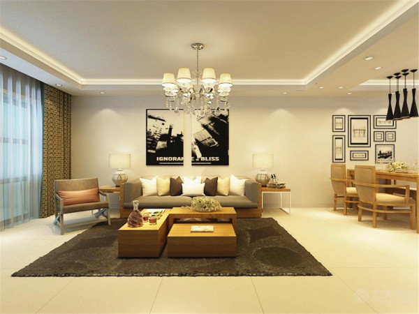 本户型为天津湾海景文苑两室一厅一厨一卫高层标准B2反户型面积115.00㎡的户型,设计风格为现代简约。