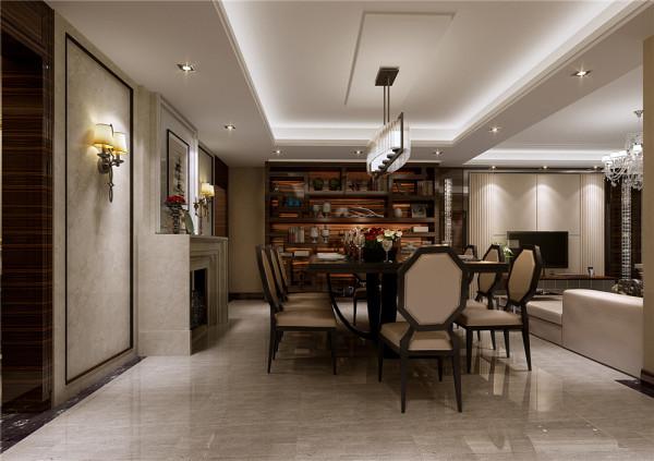 业之峰装饰设计师在设计本港式风格作品餐厅方案时,整体造型都比较少,主要通过黑、白灰三种色系整体搭配和运用,再加上一些黑色边框的餐椅家具、时尚现代的吊灯搭配运用,让整个空间更现代时尚。