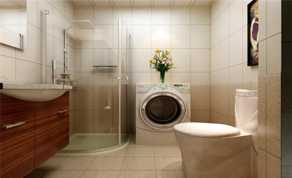 卫生间设计: 生间直接根据下水管区域进行功能区分,减少施工造价。瓷砖使用A—B歀,添加腰线,使卫生间更有层次感。