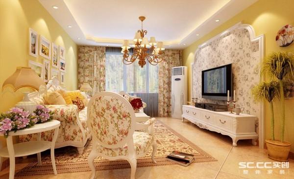 格调清新惬意,线条随意便注重干净与干练。暖黄色的墙面配上小碎花的沙发,给人一种迎面的清新,同时为空间增添了层次感