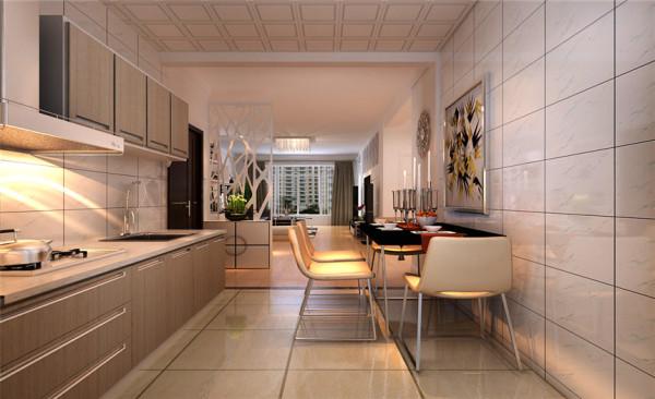 厨房设计: 暖色的瓷砖,暖色的橱柜,尽管冬天做饭也是暖洋洋的。简单的餐桌放在厨房,也能让一家人吃一顿温馨的晚餐