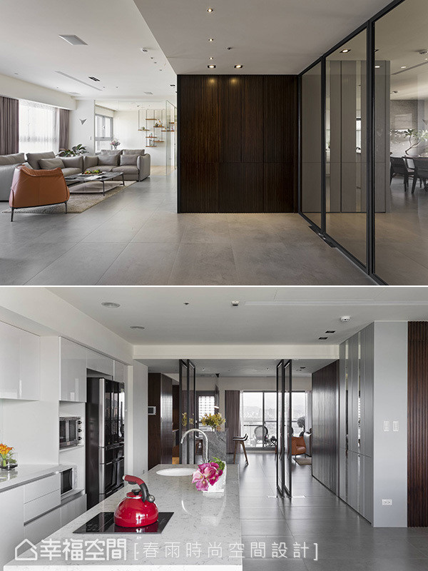 春雨设计克服结构梁柱与管线问题合并三户格局,将客餐厅置于最佳采光面,并以四片折迭门创造最大动线。