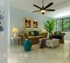 建业贰号城邦装修89平3室2厅美式乡村效果图——整个空间采用纯净的色彩,便整个空间显得明净清新!