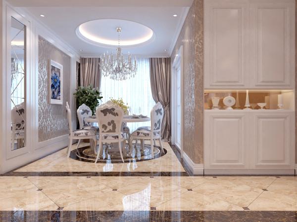 欧式风格的设计线条,多以柔和优美的线条和弧度为主,餐厅地面的图案和圆形的造型顶相互呼应,相得益彰。