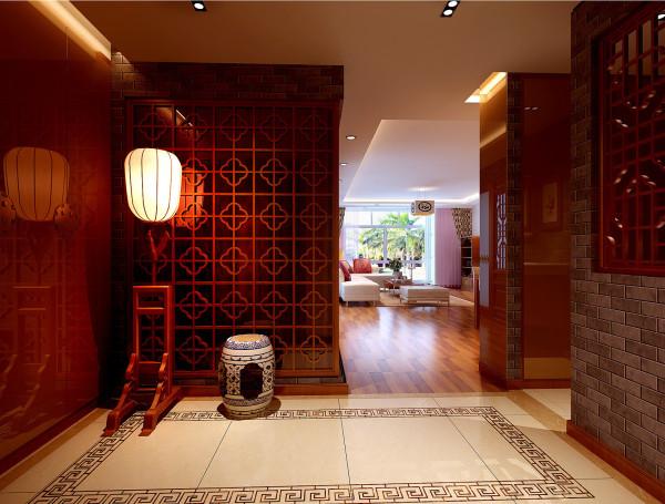 门厅:有如魔幻般的光影变化,使人仿佛置身于古代的某个场景。 亮点:中式元素的完美结合,大气优雅。