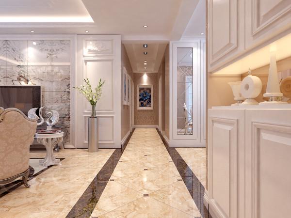 走道两边用深色的波打线修饰,不仅起到了很好的区域划分的作用,让整体房间看起来更加美观时尚大气。
