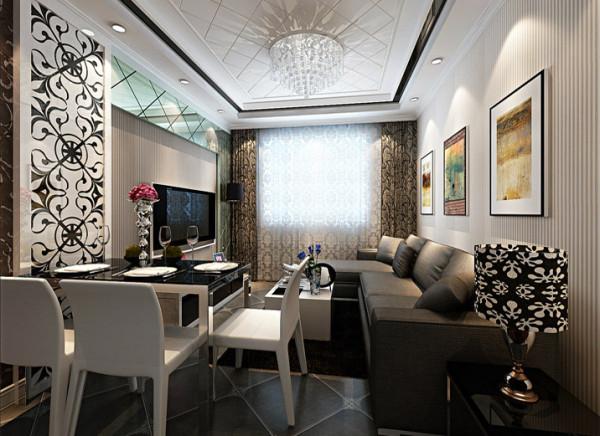 合理搭配了餐客厅的摆放位置,并使每个空能都能顺心应手的发挥特有的功能,不至于让空间显得狭小紧凑。 亮点:电视墙采用大面积烤漆玻璃在视觉上不仅可以拉伸空间感也可美化居住空间之感。