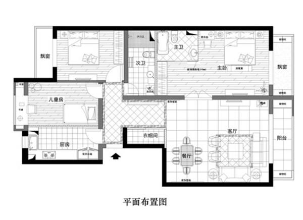 【实创装饰】--绿萱园三室一厅简欧 --户型图