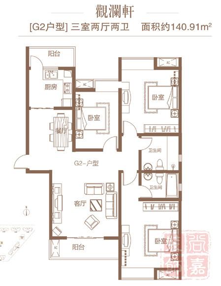 尚嘉装饰——润城G2户型140.91平方方案
