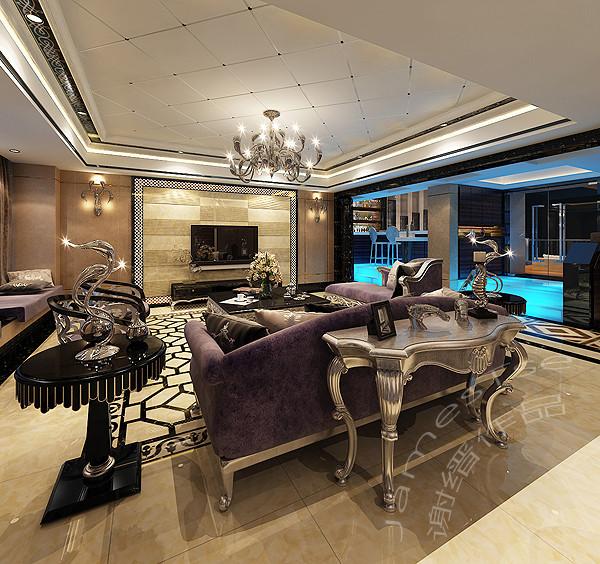 誉峰别墅装修设计 新古典会客厅装修效果图
