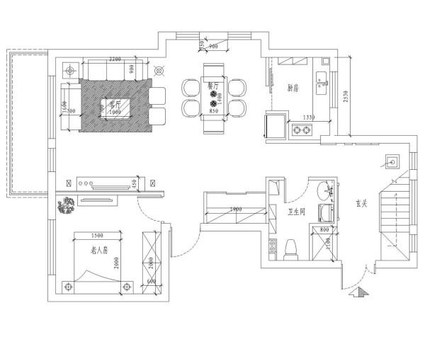 一层平面布置图。一层主要是公共区,在布局上设计师略有调整,最大化的让各个空间保持完整同时让空间利用率达到最高。