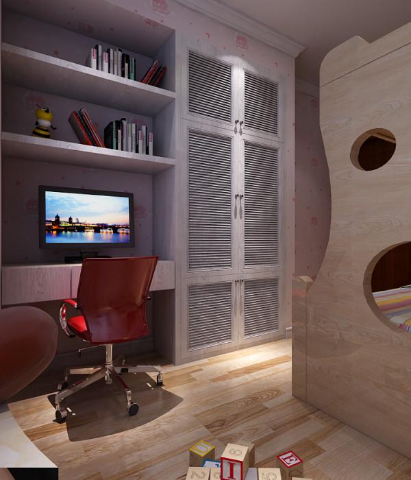 书房的设计效果,书桌和书柜做成一体