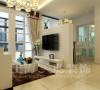 建业二号城邦89平三室两厅现代简约装修效果图,在电视背景的处理上采用了奥松板勾缝的手法,表面用白色混油漆饰面。