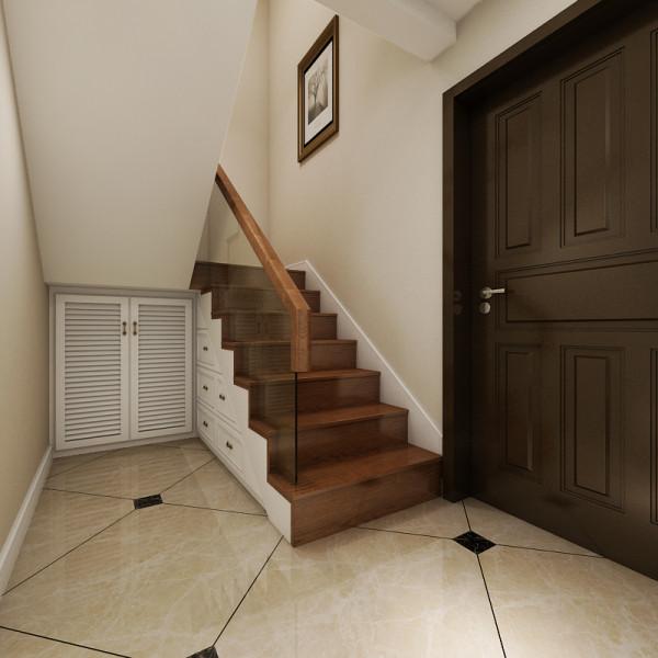 图4,进门的门厅鞋柜,是设计在楼梯的下面一个空间,实现了空间的合理利用,解决了进门没有鞋柜的问题