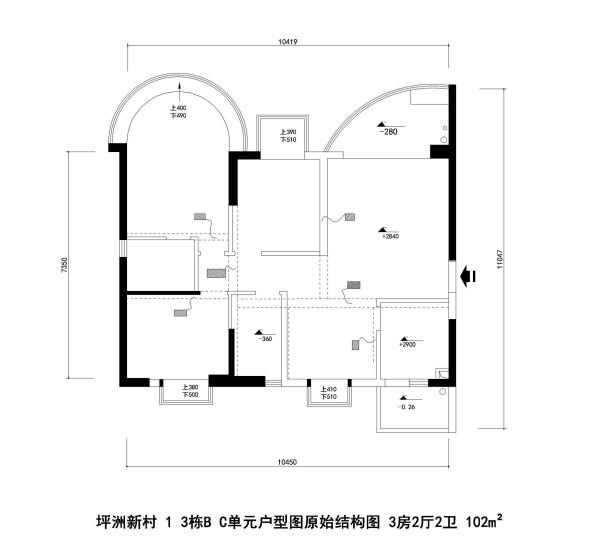 坪洲新村1 3栋B C单元户型图原始结构图 3房2厅2卫 102m²