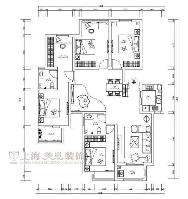 蓝堡湾189平五室两厅法式简约装修户型图