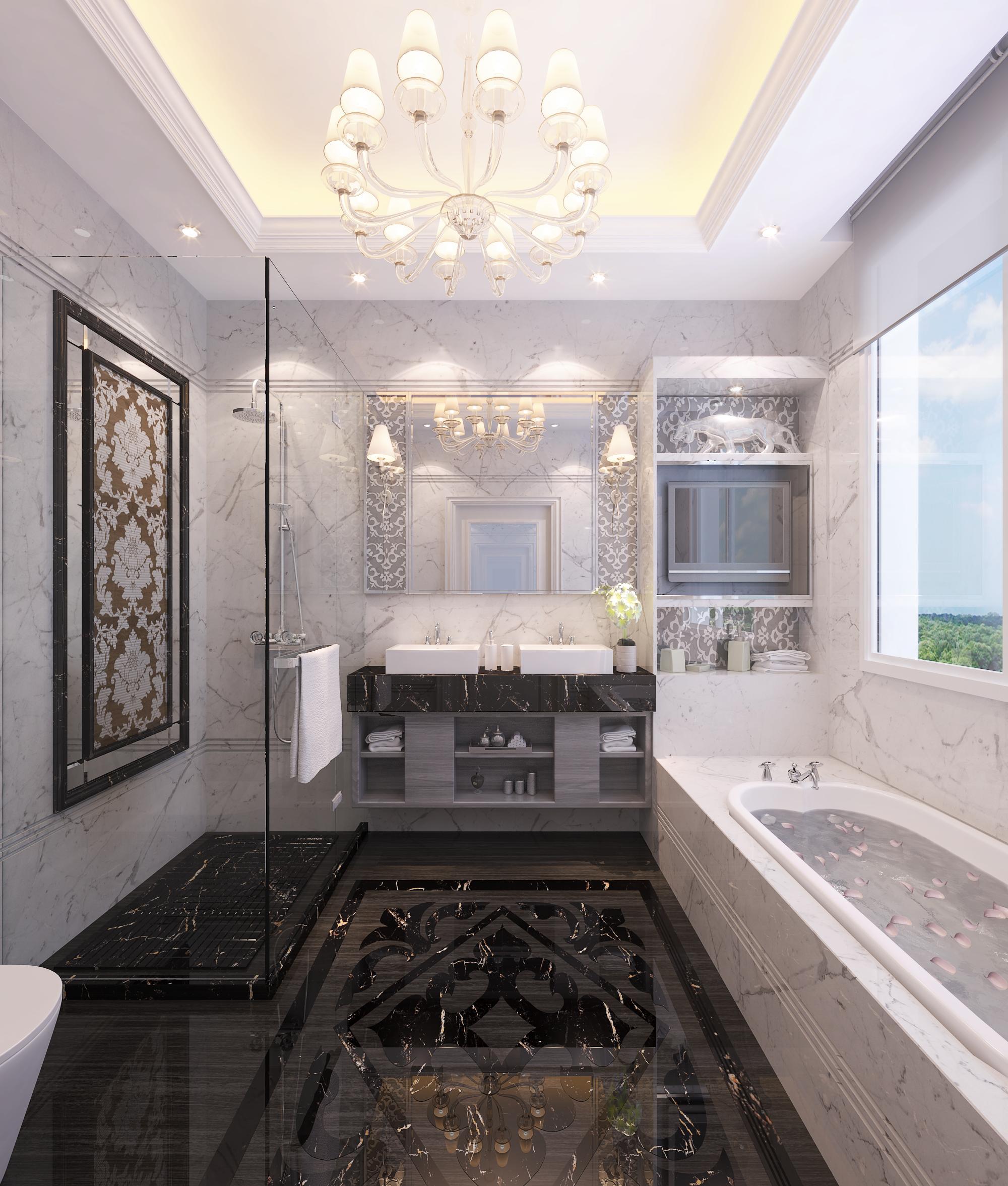 欧式 混搭 卫生间图片来自Rebecca852在现代与欧式混搭-滨海琴墅的分享