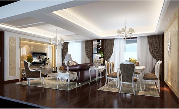 客厅设计: 客厅内的家具,大多有花纹、雕饰,尤其是有花及树木等图案装饰,线条优美。由于选用的家具极为奢华,为了与整体空间相搭配,屋主也选用了华丽的窗帘、相搭配的挂画、绣布装