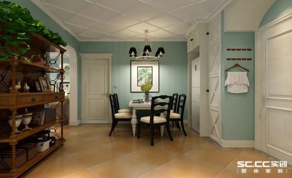 餐厅设计: 整个空间蓝色为主色调,绿植的点缀和地中海风格的地砖的搭配使餐厅之中洋溢出艺术的风情。丰富的色彩是生活的点缀。蔚蓝带给大家简单而又充实的生活