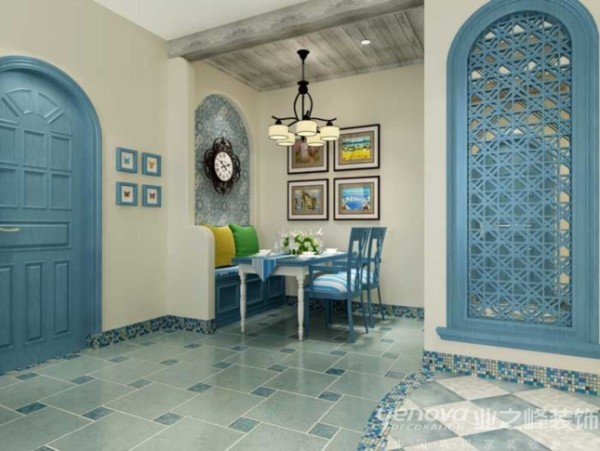 本区域为餐厅区域,业之峰装饰设计师在设计此区域时,墙面和顶面造型都很简单,主要通过墙面涂料颜色、蓝色餐桌、蓝色木门、蓝色地砖拼贴等运用和完美搭配现整体效果。