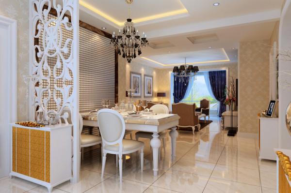 餐厅——餐厅区域同样用吊顶来提升空间层次感,餐厅的背景与客户材质相同形成呼应效果。
