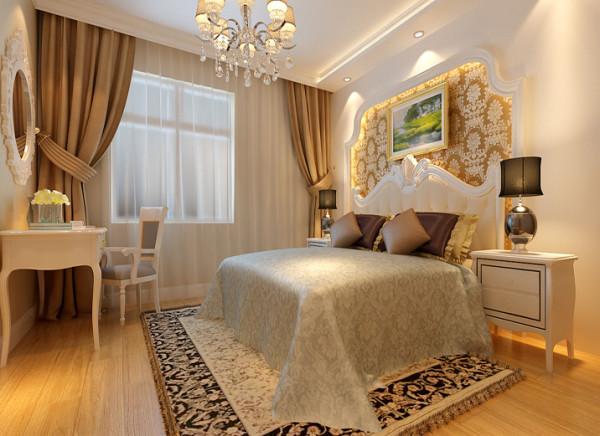 与客厅造型顶面进行呼应,承上启下,卧室背景墙一样是为了配合整体空间风格,让业主时刻体会到简欧在家。