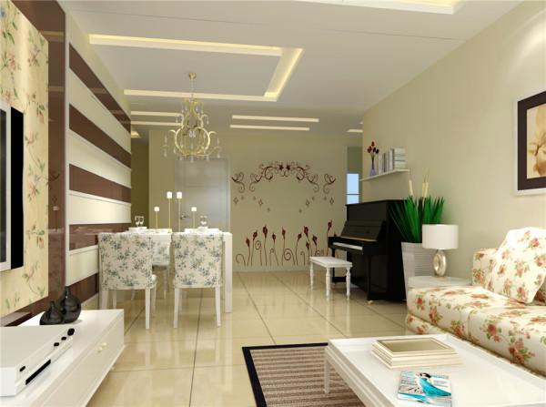 客厅及过道做局部吊顶 在空间上做了局部划分 茶色烤漆玻璃作为电视背景与客厅颜色融为一体视觉不会疲劳   同时又拉伸了沙发与电视的距离感。