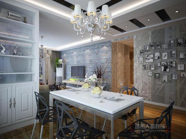 充满现代设计感的餐厅里,深浅色的明显对比,正是典型的后现代主义设计风格的特色。