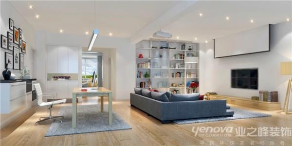 此区域为客厅区域,成都业之峰装饰设计师在设计此区域时,顶面、墙面造型比较少,主要运用白色涂料、蓝色的沙发等搭配和运用。