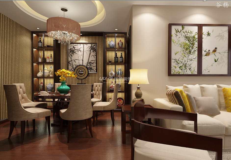 中式 三居 餐厅图片来自重庆远景装饰_张其斌在新中式风格案例效果图的分享