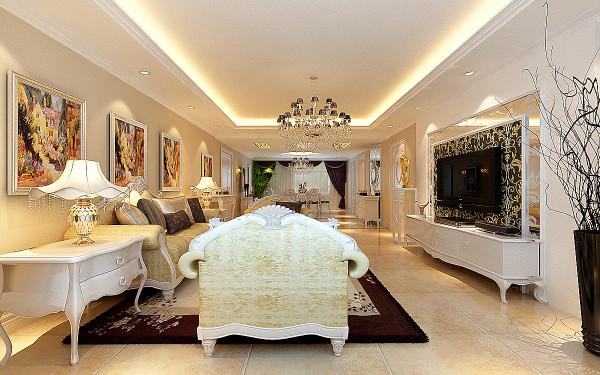 门厅地面拼花将客餐厅有机分割,有融为一体!着重在展示欧式经典的高贵与奢华.....