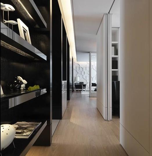 黑色的镜面设计的展示柜,无论是材质上还是在外观上都是时尚感较强的。在台面上摆上各种饰品,整体看起来美观、大气。