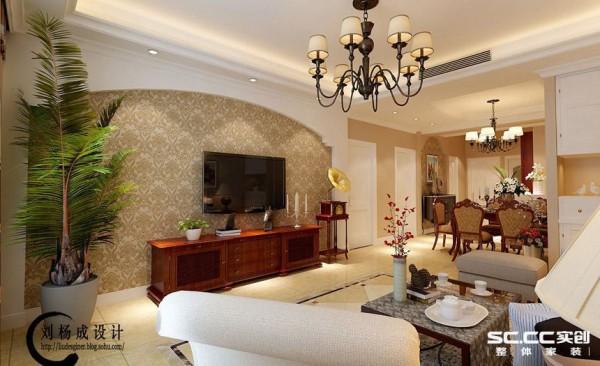 设计: 客厅的电视背景墙利用石膏板的特性,做成了弧面造型,中间壁纸饰面,其一是为了突出电视背景墙的重要性,其二是为了在美式简约风格中找到一些突破