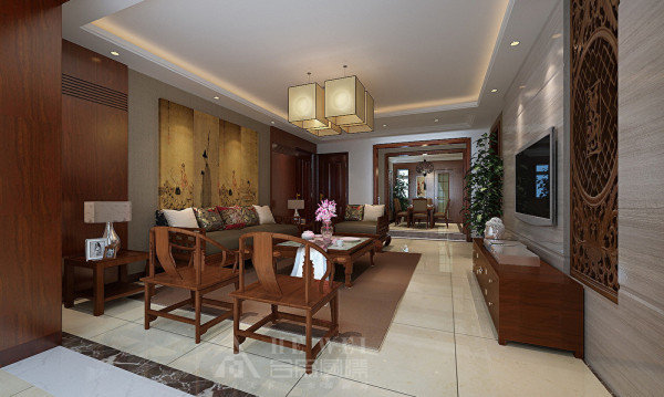 【客厅】新中式风格既继承了中国古典园林的基本元素及造园手法,又融合了现代简约的几何图案及线条的设计风格。
