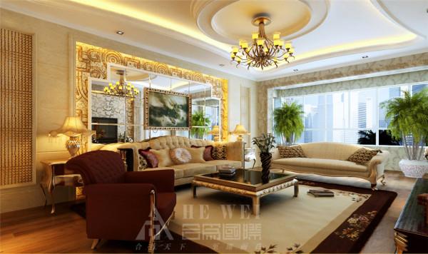 【客厅】兼容性非常强的设计,如果把家具换掉,可以瞬间变成现代风格,也可以变成中式风格,总之能空间的千变万化。