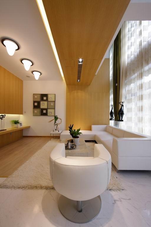 沙发的设计简单、大气,搭配着大面积的原木色,体现了一种时尚和自然的感觉。