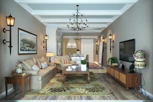业之峰装饰设计师在设计客厅时,运用顶面石膏线条的吊顶,墙面咖色涂料,和灰色系地板,原木色家具的综合搭配和运用。让整人空间简洁休闲。