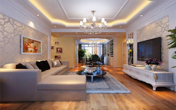 设计理念:客厅顶部用大型灯池,并用华丽的枝形吊灯营造气氛。电视背景墙采用壁纸和棱镜进行装饰,以烘托豪华欧式的感觉,此次的案例欧式客厅需要用家具和软装饰来营造整体效果。白色的橡木或