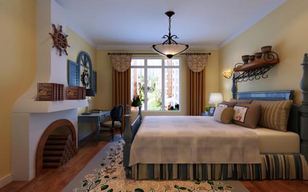 卧室设计: 设计理念:次卧室为20岁左右的男孩居住,主要展现的是地中海的风格,淡黄色的墙漆体现了地中海的主题又与外面的简欧前面形成呼应,展现了别具一格的设计感觉